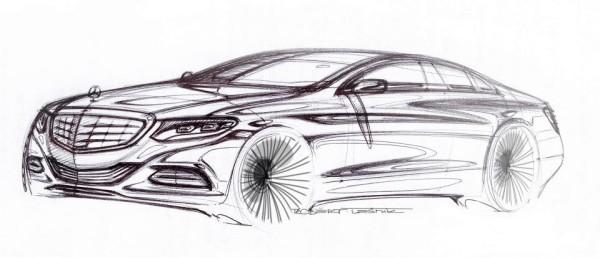 Mercedes-Benz neue S-Klasse Skizze Zeichnung