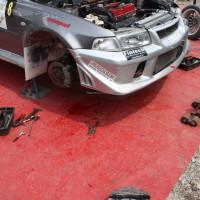 Schneebergland Rallye 2013 Mitsubishi Lancer Service Arbeiten