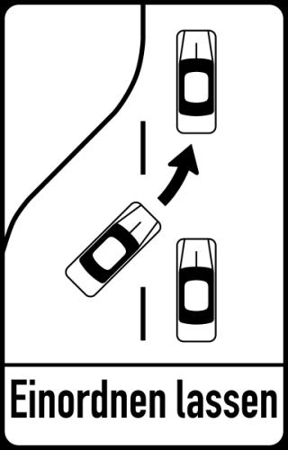 Fahrbahnverengung Einordnen lassen Reißverschlusssystem Schild Verkehrszeichen