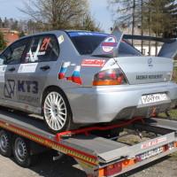 Rebenland Rallye 2014 Mitsubishi Lancer EVO IX Viacheslav Chulyukanov Service Russland Autoanhänger
