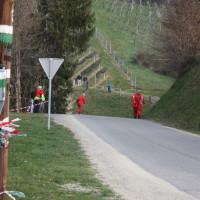 Rebenland Rallye 2014 Warnung Gebrechen Vorsicht Warndreieck VW Golf GTi 16 V Bernd Gebetsberger Bernd Daniela Reiterer SP 6