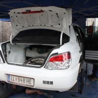 Schneebergland Rallye 2014 Subaru Impreza Service Kofferraum Rohr im Gebirge